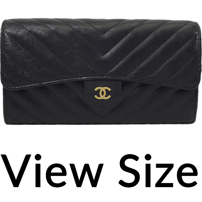 d676914f329c2a Sold Out. Chanel - 2017 Cruise NEW CHANEL Chevron Stitch Flap Long Wallet  Black Calf A80758[Brand